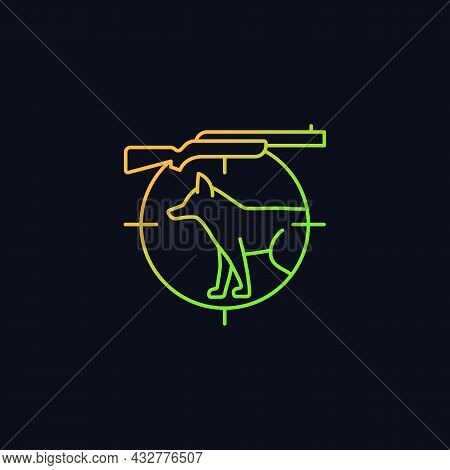 Small Game Hunting Gradient Vector Icon For Dark Theme. Pursue Smaller Side Animals. Hunting With Tr