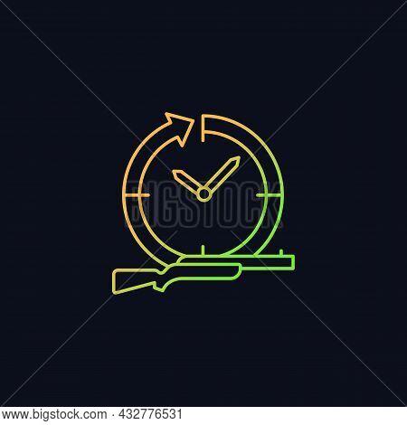 Hunting Year-round Gradient Vector Icon For Dark Theme. Pursue And Capture Prey. Wildlife Animals Ki