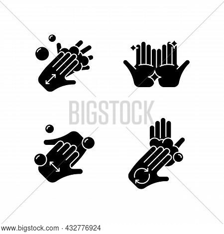 Washing Hands Instruction Black Glyph Icons Set On White Space. Rubbing Hands Together With Soap. Cu