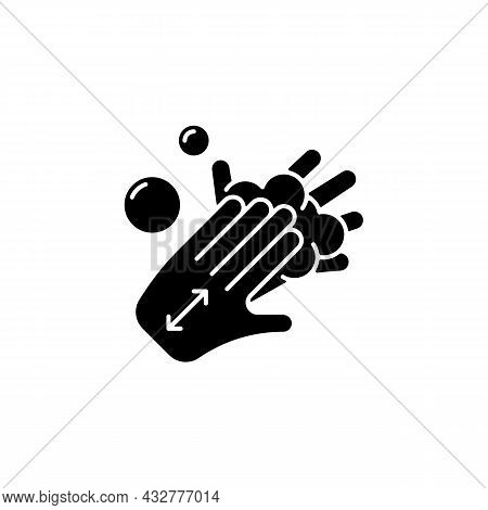 Lathering Back Of Hands Black Glyph Icon. Rubbing Hands Together With Soap. Proper Handwashing Step.