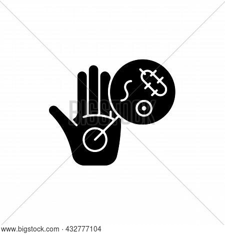 Dirty Hands Black Glyph Icon. Germs On Unwashed Hands. Spreading Infectious Diseases Through Handsha