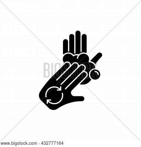 Rub Palms With Fingers Black Glyph Icon. Regular Handwashing. Covering Hands With Soap Lather. Lathe