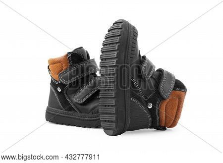 Isolated Dark Children S Spring And Autumn Leather Shoes On A White Background Shop, Running, Extrem