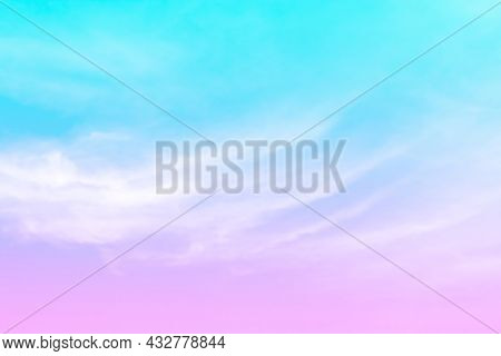 Pastel Soft Sky, Purple Pink Sky, Cloud And Sky In Pastel Colored Soft For Background