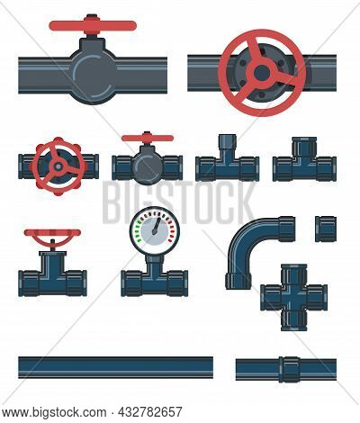 Set. Fittings, Taps, Bends And Fittings. Spare Parts For Pipelines, Sewerage, Gas Pipelines And Any