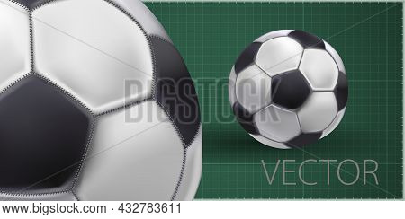 Shiny Soccer Ball Waiting To Be Kicked, Vector. High Detailed Realistic Soccer Ball On Green Backgro