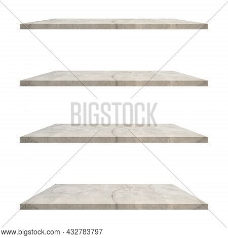 4 Concrete Shelves Table Isolated On White Background And Display Montage For Product.