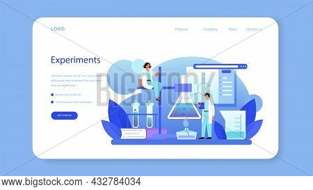 Chemist Web Banner Or Landing Page. Chemistry Scientist Doing An Experiment