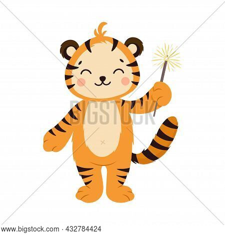 Cute Striped Orange Tiger With Sparkler. The Year Of The Tiger. Happy New Year 2022. Chinese New Yea