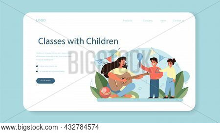 Kindergartener Web Banner Or Landing Page. Professional Nany And Children.