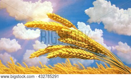 Ripe Rye Spikelets On Field At Fine Summer Day - Cg Nature 3d Rendering