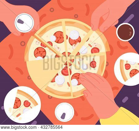 Friends Dinner With Pizza. Top View Lunch, Fast Food Delivery. Hands Take Drinks, Joy Home Party. Ca