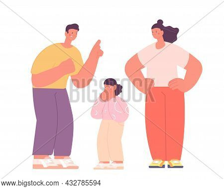 Angry Parents. Adults Punish Kid, Mother Father Scream On Child. Family Conflict Or Abuse. Cartoon S