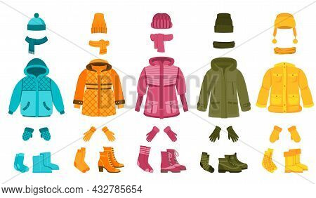 Warm Cloth And Accessories. Winter Clothing, Cartoon Women Seasonal Garment. Coat And Jacket, Hat An