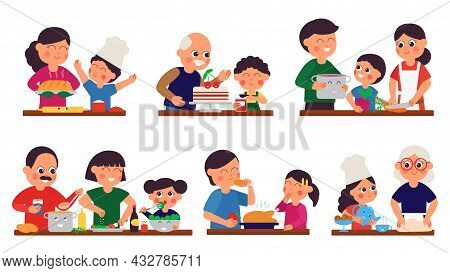 Parents And Children Prepare Food. Person Cooking, Cartoon Family Dinner. Home Kitchen, Isolated Smi