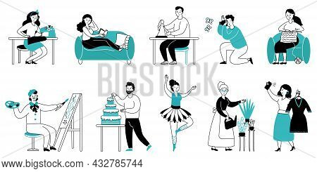 Hobby Characters. Art People Hobbies Or Occupations, Dance Girl. Painter Or Artist, Man Woman Readin