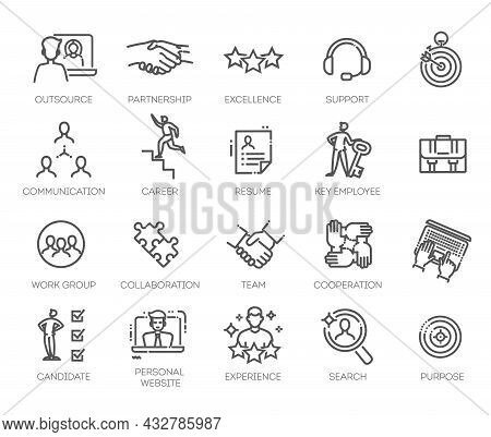 Business People, Human Resources, Office Management - Thin Line Web Icon Set