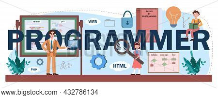 Programmer Typographic Header. Students Learn Computer Science