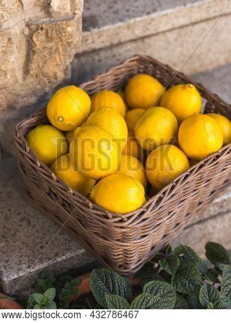 Wicker Basket Full Of Ripe Yellow Lemons On The Italian Street. Advertising For Lemon Juice, Fruits