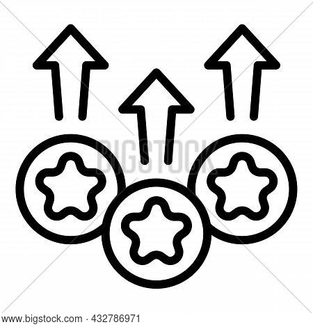 Upgrade Rating Icon Outline Vector. Premium Level. Satisfaction Rate