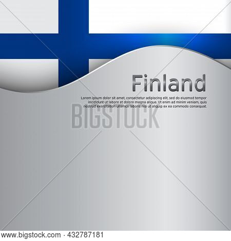 Finland Flag Background. Finland Flag On A Metal Background. National Poster Design. State Finnish P