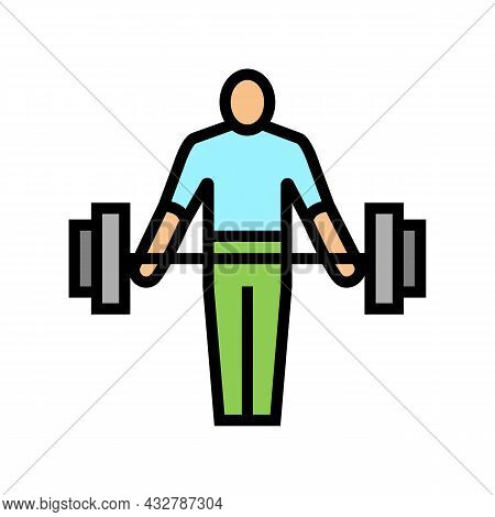 Athlete Exercising With Weight Color Icon Vector. Athlete Exercising With Weight Sign. Isolated Symb