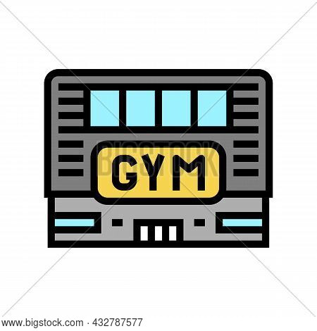 Gym Building Color Icon Vector. Gym Building Sign. Isolated Symbol Illustration