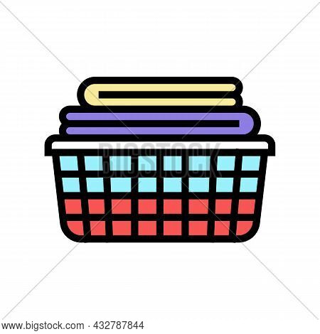 Washed Clean Fabric Clothes In Basket Color Icon Vector. Washed Clean Fabric Clothes In Basket Sign.