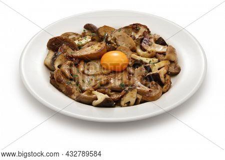 grilled mushrooms (porcini, shiitake, and eryngii ) with egg yolk, Spanish tapas