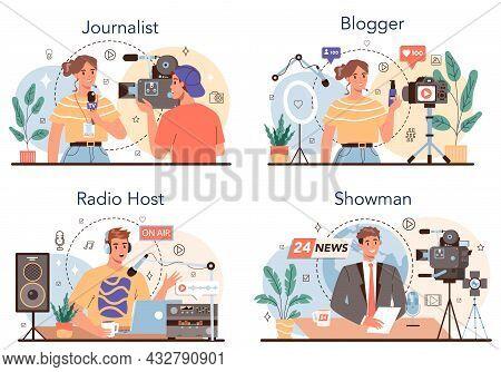Journalist Concept Set. Newspaper, Internet And Radio Journalism