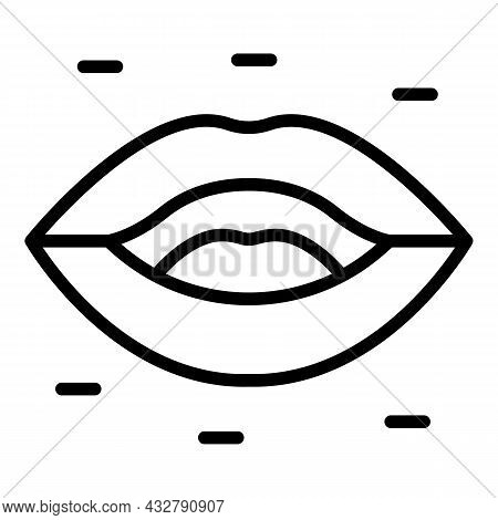 Lip Sync Animation Icon Outline Vector. Mouth Expression. Face Talk