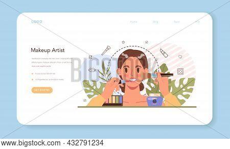 Make Up Artist Web Banner Or Landing Page. Professional Artist