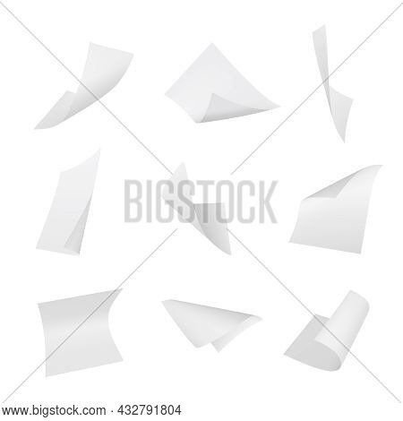 Papers Flying. Book Sheets Stack Of Blank Office Sheets Decent Vector Empty Papers Templates