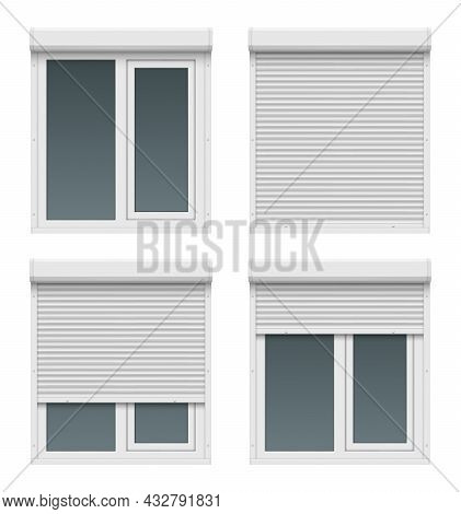 Window Roller Doors. Metal Realistic White House Shapes For Windows Close Up Plastic Gate Shutter Fr