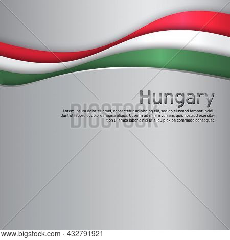 Abstract Waving Hungary Flag. Paper Cut. Creative Metal Background For Design Of Patriotic Holiday C