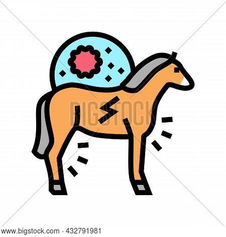 Encephalitis Horse Color Icon Vector. Encephalitis Horse Sign. Isolated Symbol Illustration