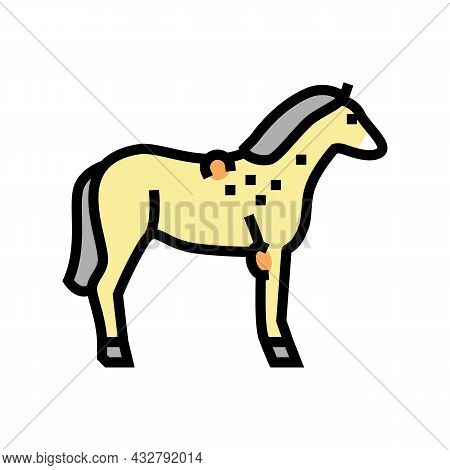Brucellosis Horse Color Icon Vector. Brucellosis Horse Sign. Isolated Symbol Illustration