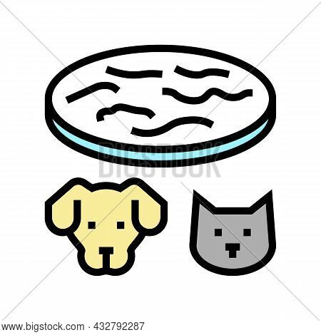 Tapeworm Animal Disease Color Icon Vector. Tapeworm Animal Disease Sign. Isolated Symbol Illustratio