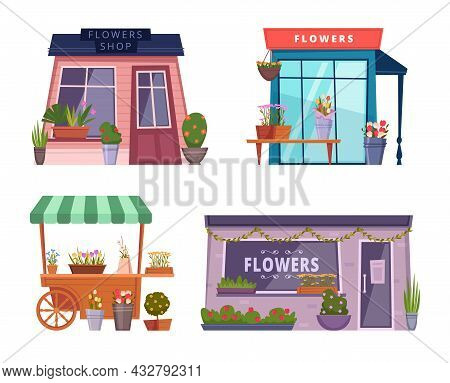Flowers Boutique. Fashion Shop Facade With Beautiful Plants Exotic Flowers Bouquet Exact Vector Colo