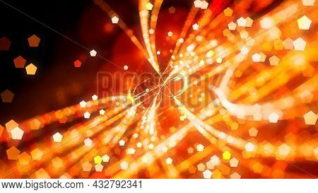 Fiery Glowing Trajectories With Particles, Computer Generated Abstract Background, 3d Rendering