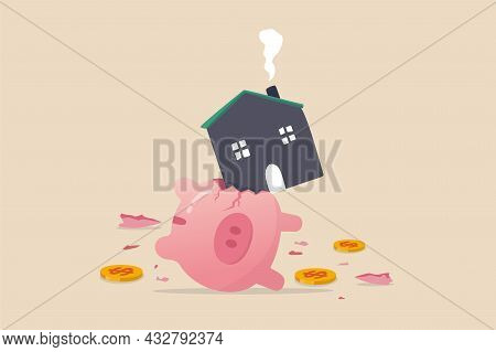 House Expense And Cost, Too Expensive Payment Or High Interest Rate Mortgage Concept, Heavy House Br