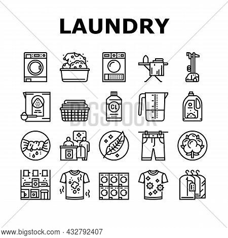 Laundry Service Washing Clothes Icons Set Vector. Laundry And Drying Machine For Wash And Dry Textil