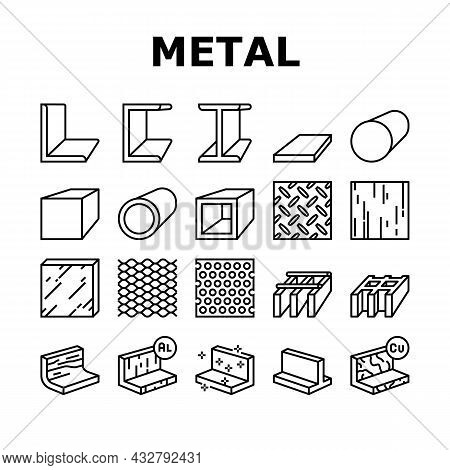 Metal Material Construction Beam Icons Set Vector. Pipe And Round Bar, Square And Diamond Plate, Ang