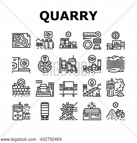 Quarry Mining Industrial Process Icons Set Vector. Quarry Mining Equipment And Machine Technology, I
