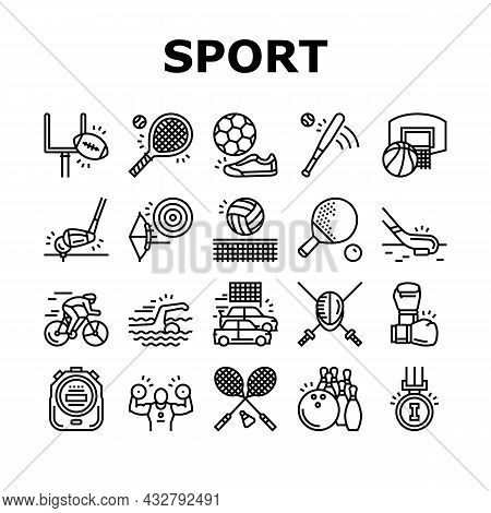 Sport Active Competitive Game Icons Set Vector. Basketball And Volleyball, Soccer And Rugby, Tennis
