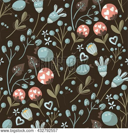 Seamless Pattern With Wild Flower. Vector Ornate Vintage Illustration. Detailed Floral Ornament. Boh