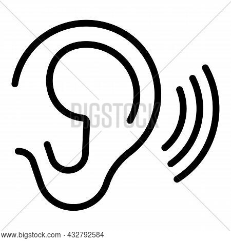 Ear Concentration Icon Outline Vector. Listening Attention. Sound Perception