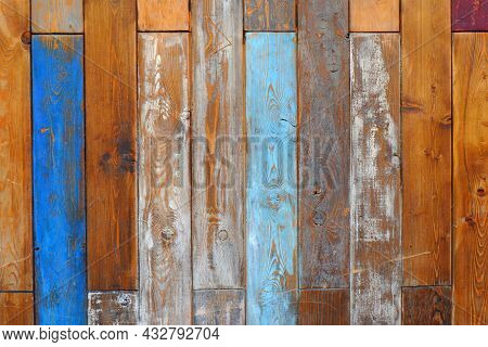 A Natural, Textured Background Of Old Vertical Wooden Boards With Cracked Paint Of Blue, White Color