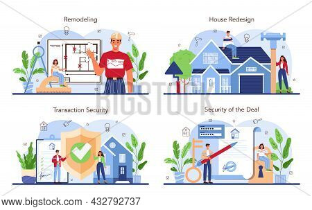 Real Estate Industry Set. House Remodeling Or Redesign After The Purchase.
