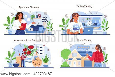 Real Estate Industry Set. Real Estate Agent Presenting A House Or Apartment